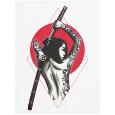Shop Japanese Woman Warrior Fleece Blanket created by OlympusMons. Small Japanese Tattoo, Japanese Tattoo Women, Japanese Tattoo Symbols, Japanese Warrior Tattoo, Japanese Tattoo Sleeve Samurai, Family Tattoos, Couple Tattoos, Small Tattoos, Tattoo Small
