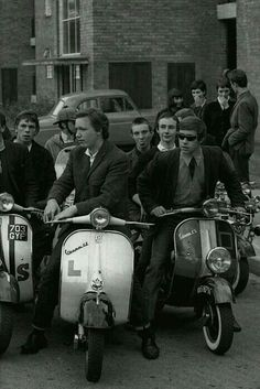 Mods on scooters, Brighton Pier, 1960s.