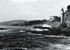The iconic tower at Victoria Beach in the 1900s   Photo courtesy of Laguna Beach Historical Society