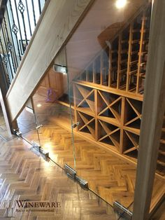 Bespoke wine racking project installed in Wirral, UK. Fits the space under the stairs perfectly, what a great way to store your wine! - Capacity: Over 108 bottles - Under stairs wine racking - Type of Under Stairs Wine Cellar, Wine Cellar Basement, Stair Storage, Wine Storage, Oak Wine Rack, Wine Racks, Wine Rack Design, Home Wine Cellars, Bar A Vin