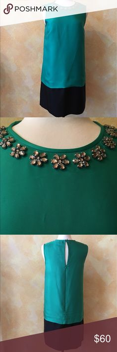 Gorgeous Kate Spade Green and Black shift dress Simple yet elegant Green and black shift dress with embellished neck. The color is more like the last pic. Camera couldn't pick up the real emerald green color. Kate Spade Dresses