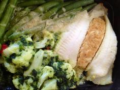 Crab-stuffed flounder, green beans w/ Parmesan and creamed spinach...surprisingly delicious seafood meal from Diet-to-Go!