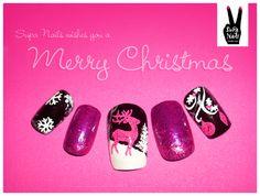 Pink Christmas nails.
