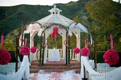 Castaway Burbank Wedding Gazebo. Minus all the branchy stuff I just like the flower balls. Could even be made from fabric or tissue paper.