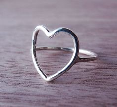 Sterling Silver Heart Ring Open Heart by Scape on Etsy, $23.00