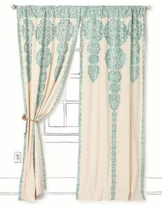 Marrakech Curtain, Tuquoise - mediterranean - curtains - - by Anthropologie