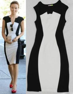 Summer Western Style Black And White Colours Casual Slim Short Sleeve Dress