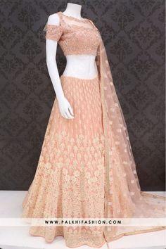 Designer Light Peach Colored Hand worked Lehenga Set From Palkhi Fashion Indian Gowns Dresses, Indian Fashion Dresses, Dress Indian Style, Indian Designer Outfits, Designer Dresses, Indian Wear, Lehnga Dress, Lehenga Choli, Net Lehenga