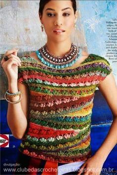 ergahandmade: Colorful Crochet Top + Diagram