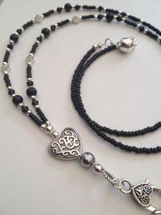CELTIC HEARTS,Beaded Lanyard,ID Pass Holder,Personalised Lanyard Glass Necklace, Beaded Necklace, Beadwork, Beading, Celtic Heart, Beaded Lanyards, Long Necklaces, Beaded Jewellery, Eyeglass Holder