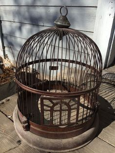 Antique Metal Deco Art Bird Cage Vintage Dome Victorian Owl