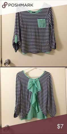 Nautical striped shirt with bow-back Worn once! Quarter-sleeved nautical shirt. Rue21 Tops Blouses