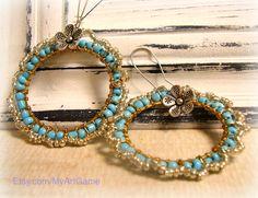 Wirw wrap bead woven turquoise  hoop earrings