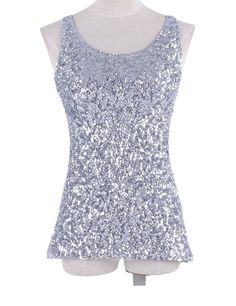 1b11c67927a629 PrettyGuide Women Shimmer Glam Sequin Embellished Sparkle Tank Top Vest Tops  at Amazon Women s Clothing store