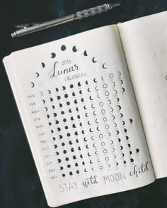 Monthly Lunar Log | May end up being an entire astrology reference system. | [Collections (#BuJo) Lunar Calendar]