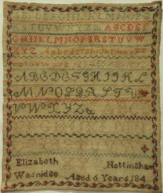 EARLY 19TH CENTURY ALPHABET SAMPLER BY ELIZABETH WASNIDGE AGED 6 - 184* in Antiques, Linens & Textiles (Pre-1930), Samplers   eBay