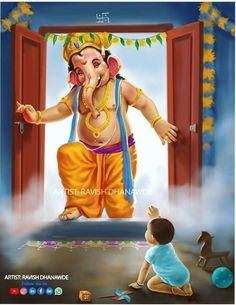 Ganesh chaturthi ki shubh-kamnaye – The Mommypedia Shri Ganesh Images, Durga Images, Ganesha Pictures, Jai Ganesh, Ganesh Lord, Shree Ganesh, Lord Durga, Ganesha Drawing, Lord Ganesha Paintings