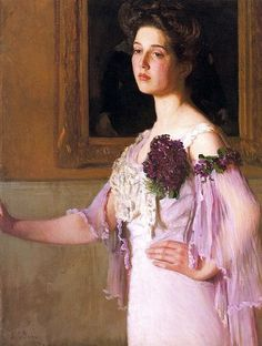 """Lady with the Violet Corsage (Portrait of Mrs. J.C. Grew)"", 1903, by Lilla Cabot Perry (American, 1848-1943). The artist's daughter Alice (Mrs. J.C. Grew) served as the model for this, and many other, paintings."