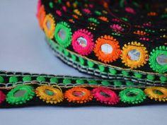 Embroidered trim - Silk Sari border - Kutch Embroidery Pattern - Silk Fabric Trim in yellow, orange, magenta, green - Lace and Trims/