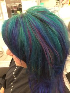 Mermaid Hair with Pravana Vivids! I did this at work today!!