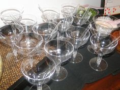 Plastic martini glass and spoons ready for service