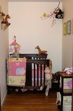 Walk in closet into a baby nursery. Space saving ideas
