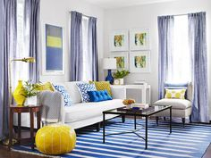 Look 3: Blue and Yellow - One Living Room, Three Ways  on HGTV