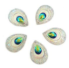 AB Resin Double color Teardrop Flatback Wedding decoration 2 Hole U PICK Acrylic Rangoli, Indian Beadwork, Beaded Earrings Patterns, Beads For Sale, Rhinestone Wedding, Flower Shape, Diy Wedding, Resin, Gems