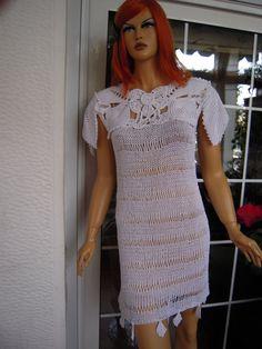 Handmade crochet romantic dress/lace sweater in by GoldenYarn, $220.00