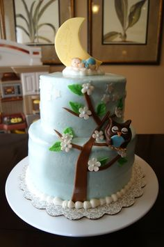 adorable owl in the tree cake... while the baby sleeps on a cloud