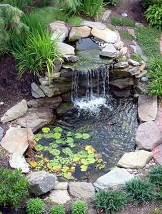 17 Brick & Rock Garden Waterfall Designs – Start An Easy Backyard Decor Project - Easy Idea Waterfall Landscaping, Garden Waterfall, Pond Landscaping, Small Waterfall, Landscaping Design, Arizona Landscaping, Waterfall Fountain, Small Backyard Ponds, Backyard Water Feature
