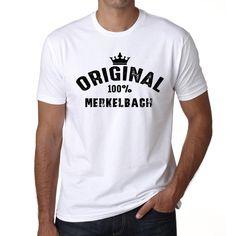 merkelbach, 100% German city white, Men's Short Sleeve Rounded Neck T-shirt