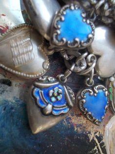 Vintage Sterling Silver  Enamel  Garter Puffy Heart Charm