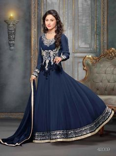 4ae8ca03fbd 549055 Beautiful fancy Blue Color Embriodered Anarkali salwar suit-Clothing-styleofsurat  Indian Salwar Suit
