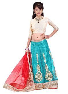 Shop Online Blue Net #GirlsLehengaCholi @Chennaistore.com