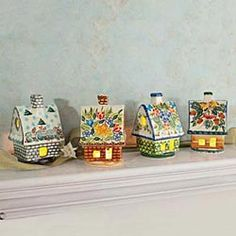 Polish Pottery Seasons Luminaries, Set 4