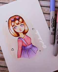 """kanika on Instagram: """"All dressed up for the weekend...💗💜 . . . . . . . . . . . . #newsketch #newartstyle #newdrawings #animestyledrawing #kawaiiart #cuteart…"""" Permanent Marker, Kawaii Art, Disney Inspired, Anime Style, Fashion Sketches, Drawing S, Cute Art, Markers, My Arts"""