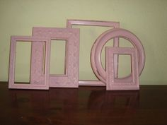 5 Shabby Cottage Pink Picture Frames Paris Chic by mushroommary, $29.00