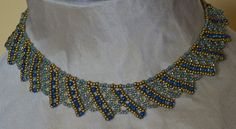 Bead Necklace in Blue/Gold - Handmade
