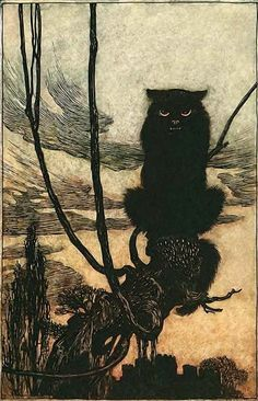 """""""By day she made herself into a cat.""""Arthur Rackham- illustration from Hansel & Grethel & Other Tales by the Brothers Grimm, 1920"""