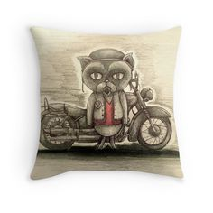 grumpy biker cat sons of anarchy inspired illustration cushion art by Melanie Dann