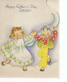 Vintage Father's Day Greeting Card   boy and girl