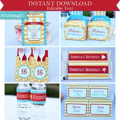 $15 editable with invite Summer Beach Birthday Party Printable Party Kit with by printmagic
