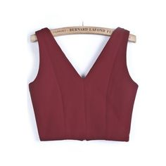 Red V Neck Zipper Crop Vest ($20) ❤ liked on Polyvore featuring outerwear, vests, tops, sheinside, zip vest, v neck vest, red vest, zipper vest and crop vest
