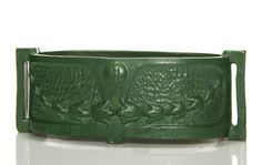 Arts & Crafts, green mat glaze by the Strobl Pottery Company of Cincinnati. Marks include the Strobl logo and shape number which appears to be Height is 5 inches and width is 13 inches.