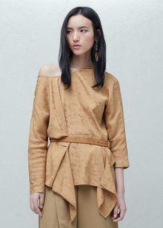 Jacquard flowy blouse -  Women | MANGO USA