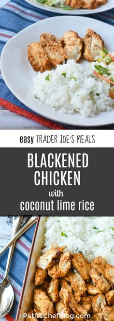 Easy Trader Joe's Meals: Blackened Chicken with Coconut Lime Rice - Easy & healthy meal idea - 30 minutes! - PETITECHEFBLOG.COM Trader Joe's, Trader Joe Meals, Blackened Chicken, Healthy Dinner Recipes, Yummy Recipes, Recipies, Yummy Food, Aldi Recipes, Celiac Recipes