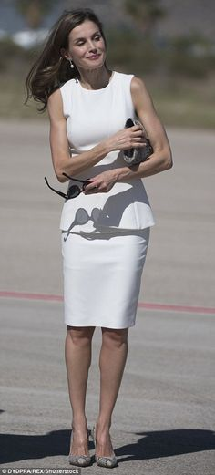 The Spanish queen showcased her trim figure in her favourite white Hugo Boss dress