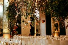 Fabulous Fall Wedding ~ suspended branches looks even prettier at night