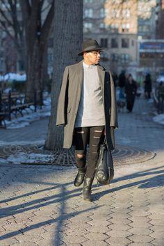 Coat // Calvin Klein (Similar) -- Sweater // Zara -- Woven // Zara -- Denim // H&M -- Boots // Aldo (Similar) -- Bag // Foley & Corinna